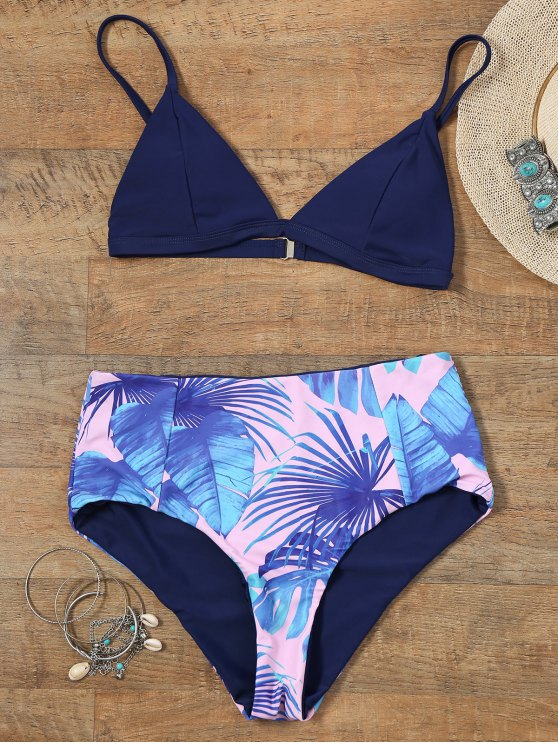shop Reversible Bikini Set with Palm Leaf Print - COLORMIX 2XL