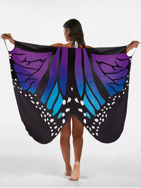 El abrigo de la playa de la impresión de la mariposa cubre encima del vestido - Azul+Púrpura L