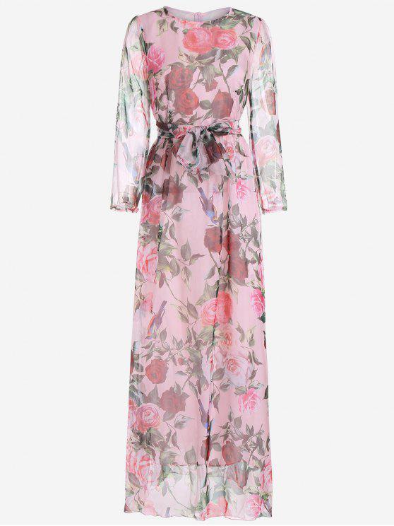 Robe Maxi Imprimée Florale à Manches Longues avec Ceinture - ROSE PÂLE 2XL