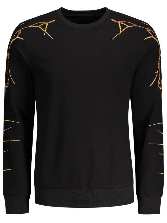 new Pullover Casual Embroidery Sweatshirt - BLACK L