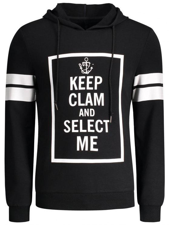 latest Stripe Trim Pullover Graphic Hoodie - BLACK M
