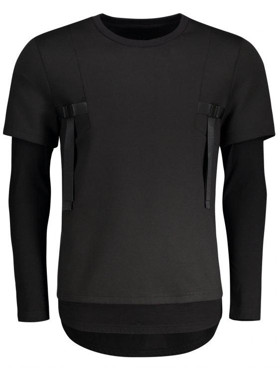 buy Double-sleeve Low High Hem Sweatshirt - BLACK XL