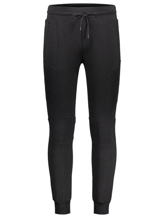 Pantalon de jogging décontracté latéral côtelé - Noir L