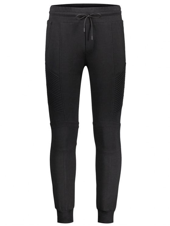 Pantalon de jogging décontracté latéral côtelé - Noir XL