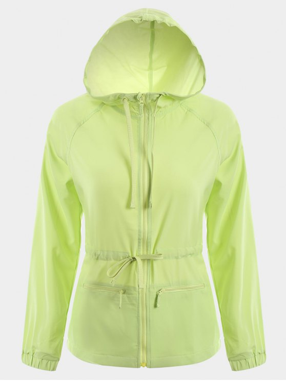 sale Zip Up Drawstring Hooded Sports Jacket - GREEN M