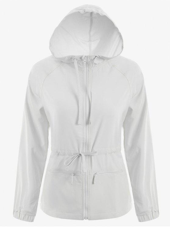 fancy Zip Up Drawstring Hooded Sports Jacket - WHITE S