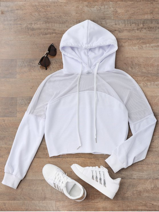 lady Cropped Mesh Sports Hoodie - WHITE S