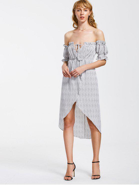 fancy Stripes Ruffles Off Shoulder Asymmetrical Dress - STRIPE S