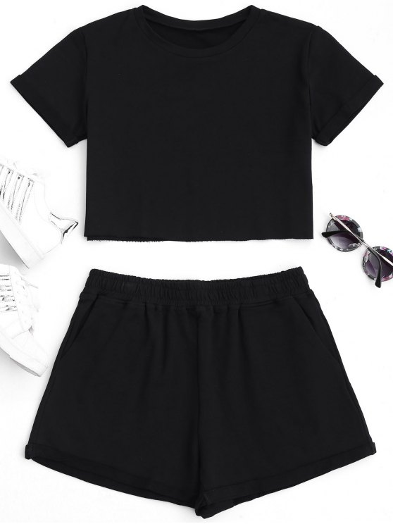 women Cotton Sports Cropped Top and Shorts Suit - BLACK L