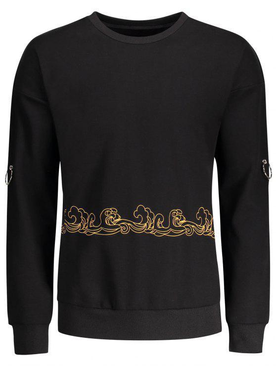 Sweat-shirt Imprimé avec Anneaux Métalliques Décoratifs - Noir M