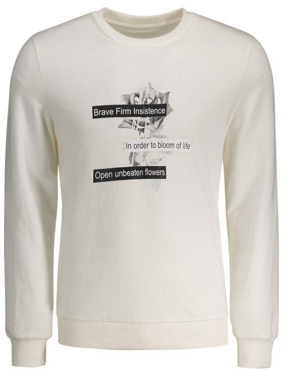 Sweat-shirt Ras du Cou à Motif - Blanc XL