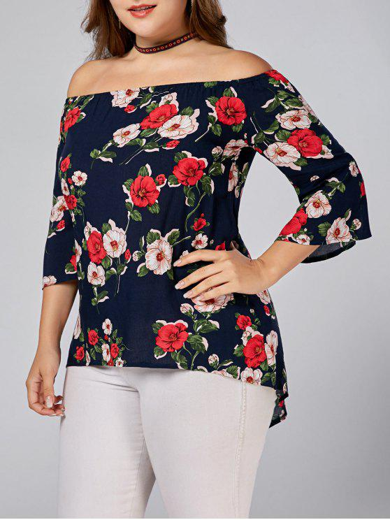 fancy Floral Printed Plus Size Off Shoulder Blouse - DEEP BLUE 3XL