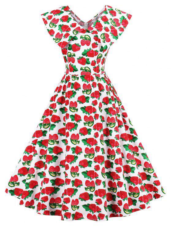 Strawberry Bedruckte Flache Kragen Pin Up Dress Colormix : Kleider ...