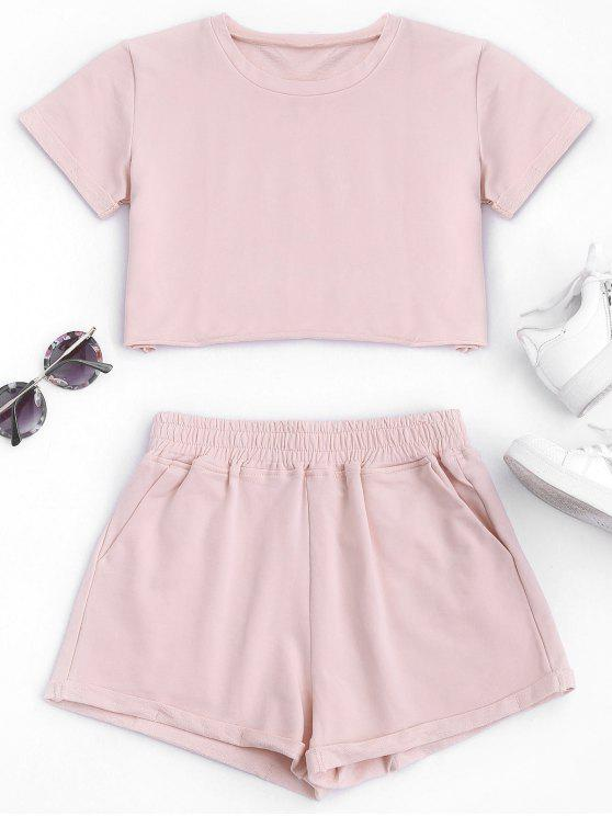 lady Cotton Sports Cropped Top and Shorts Suit - PINK M