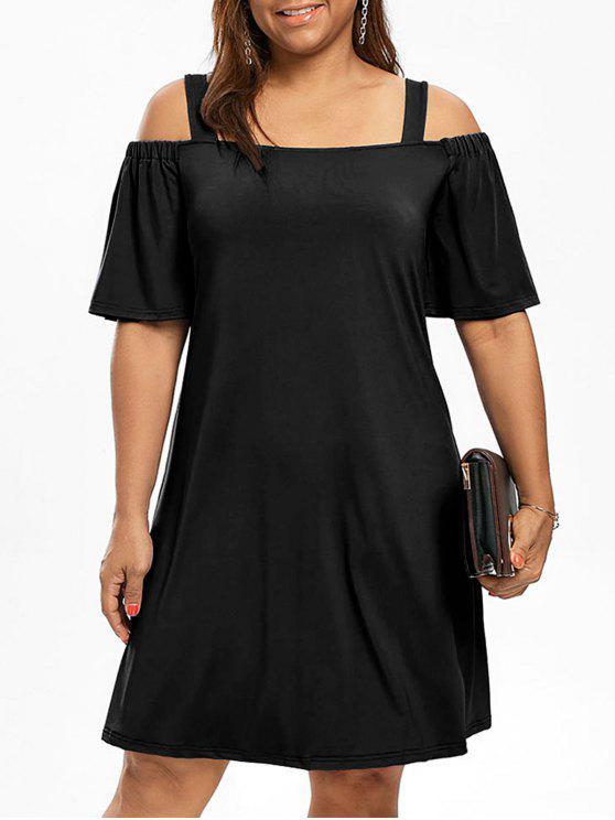 Más tamaño hombro frío hombro vestido de manga - Negro XL