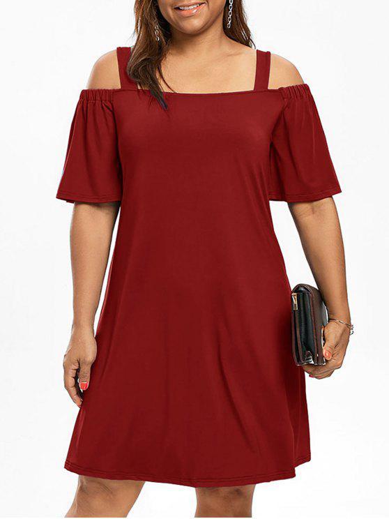 Vestido de meia manga de ombro frio com tamanho grande - Vinho vermelho XL