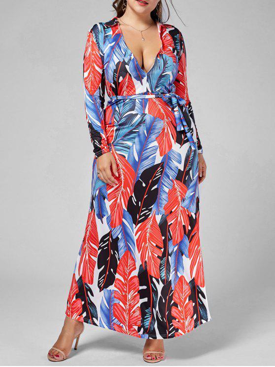 De manga larga de hojas de palma de impresión vestido de más tamaño - Multicolor 5XL