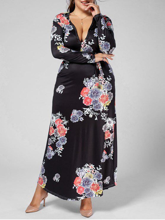 Deep Plunging Neck manga comprida Floral Plus Size Dress - Multi 5XL
