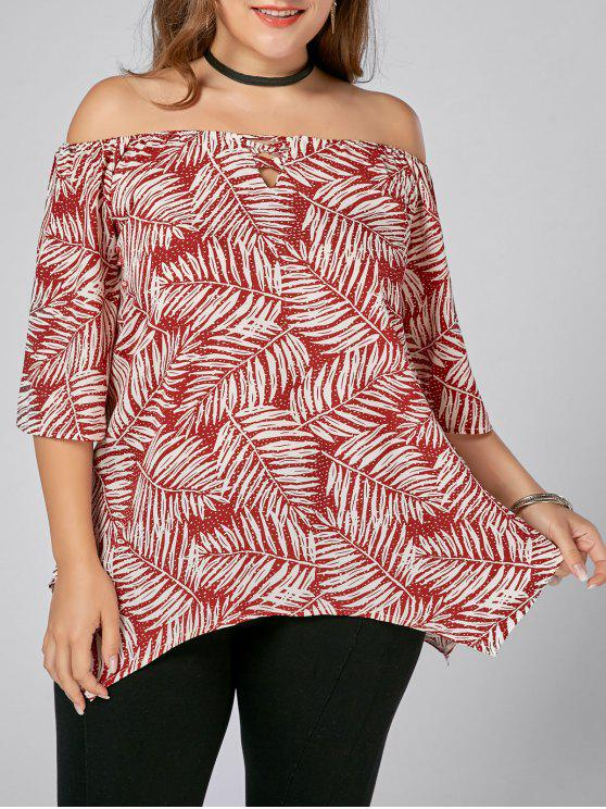 hot Leaf Printed Plus Size Off Shoulder Asymmetric Top - FLORAL 3XL