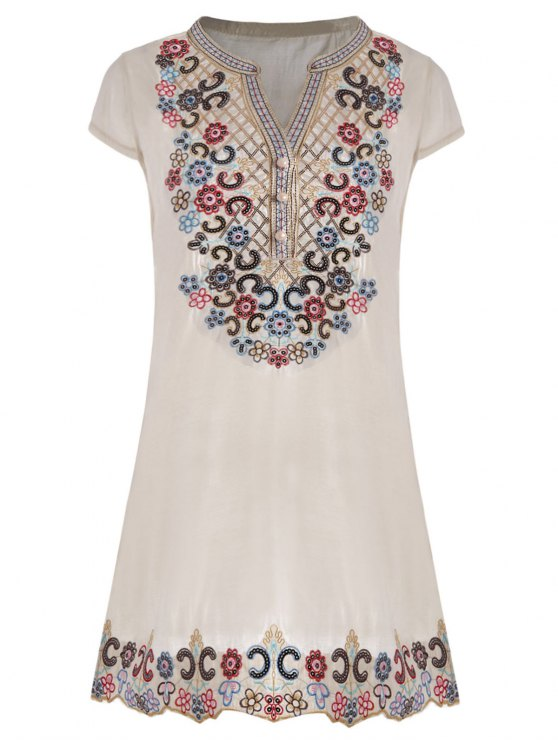 hot Sequin Embroidered Plus Size Tunic Top - BEIGE 2XL