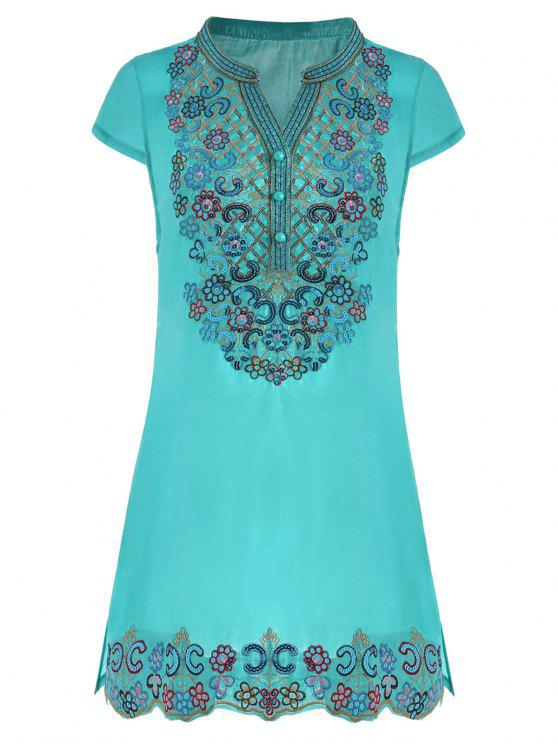 trendy Sequin Embroidered Plus Size Tunic Top - LAKE BLUE 3XL