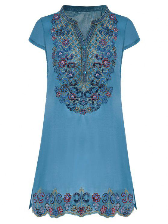outfits Sequin Embroidered Plus Size Tunic Top - BLUE 3XL