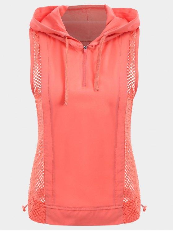 Mesh Panel Sport Top mit Kapuze und Halbem Reißverschluss - orange pink  M