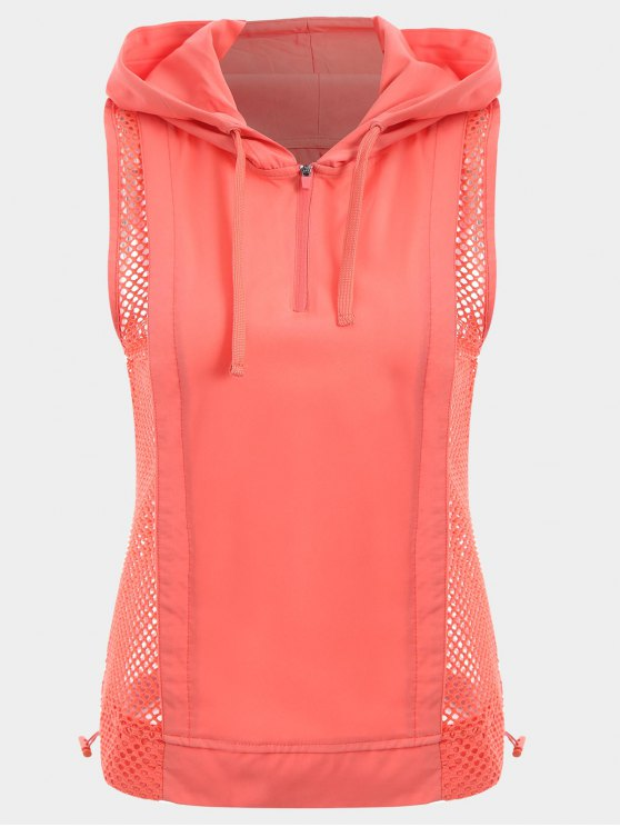 shops Half-zip Mesh Panel Hooded Sports Top - ORANGEPINK S