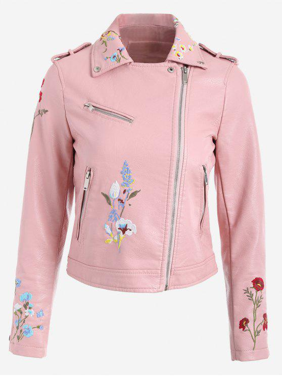 women Floral Patched Zippered Faux Leather Jacket - PINK L