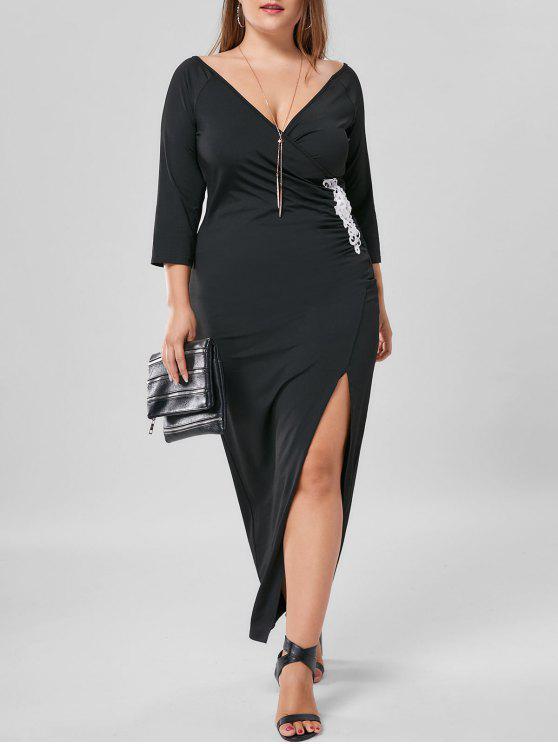Robe Longue à Fente Latérale à Applique Grande Taille - Noir XL