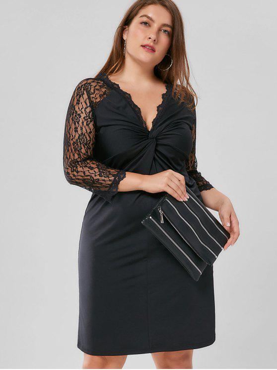 Plus Size Twist Front Lace Trim Sheath Dress Black Plus Size