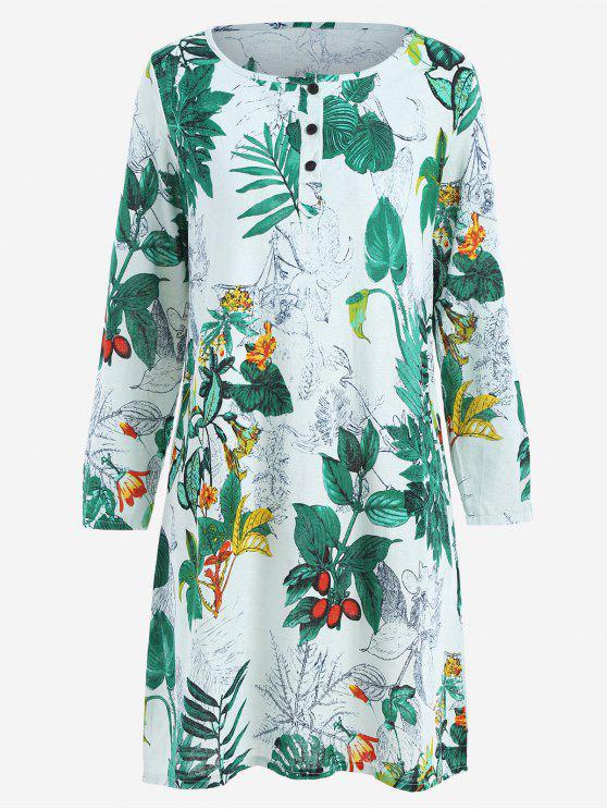 فستان طباعة الأوراق مع مخفي الجيوب - GREEN M