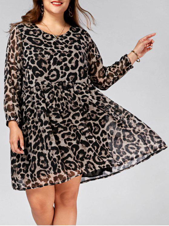 Chiffon Plus Size Long Sleeve Leopard Printed Smock Dress
