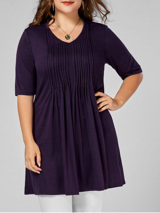 hot V Neck Plus Size Tunic Tee - DEEP PURPLE XL
