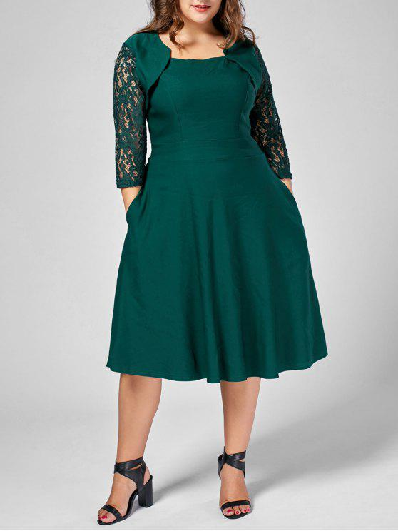 fe1bb816c 35% OFF  2019 Lace Trim Una Línea Vestido Plus Size Midi En Verde ...