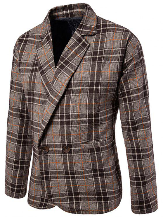 affordable One Button Wool Blend Plaid Blazer - COFFEE XL