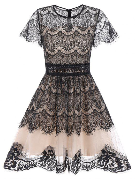 ladies Lace A Line Waisted Vintage Dress - BLACK M