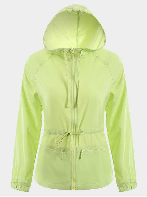sale Zip Up Drawstring Hooded Sports Jacket - GREEN M