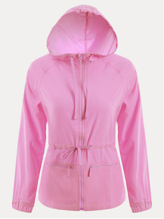 womens Zip Up Drawstring Hooded Sports Jacket - PINK M