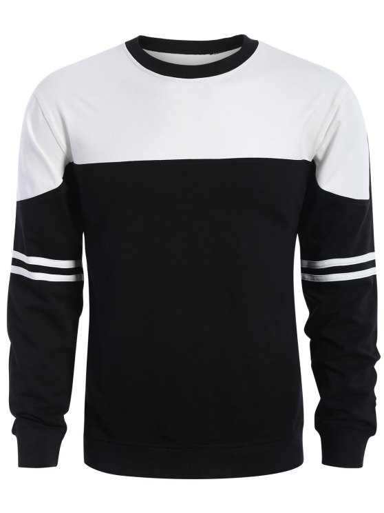 women Mens Two Tone Sweatshirt - WHITE AND BLACK L