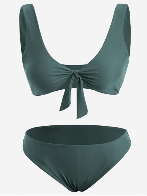 Vorder Knoten Plus Größe Bikini Set - Dunkelgrün 4XL