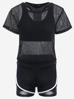 Mesh Three-piece Sports Suit - Black S