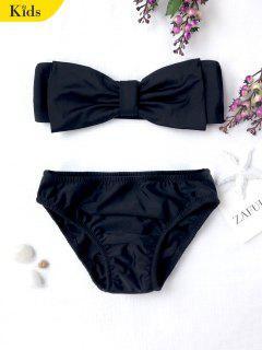 Kids Strapless Bowknot Bikini Set - Black 7t