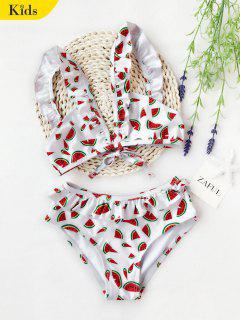 Watermelon Print Ruffles Kid Bikini - White 7t