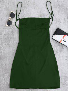 Backless Mini Slip Dress - Blackish Green S
