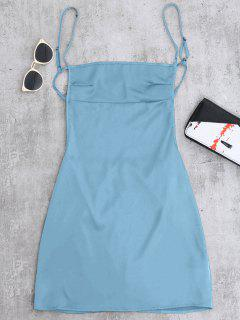 Backless Mini Slip Dress - Lake Blue M