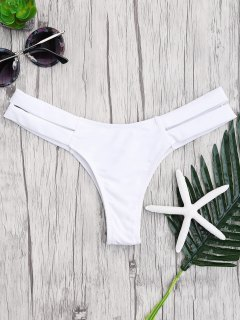 Bandage Cut Out Bikini Bottoms - White L