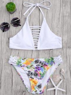 Haut Découpé à Bretelles Avec Bas De Bikini Floral - Blanc S