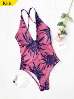 Kids Floral Cutout One Piece Swimsuit - Watermelon Red 7t