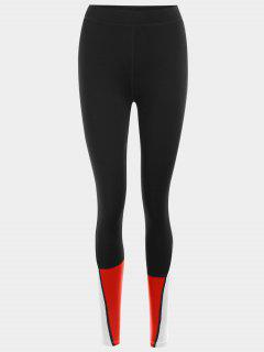 Color Block Sports Leggings - Red S
